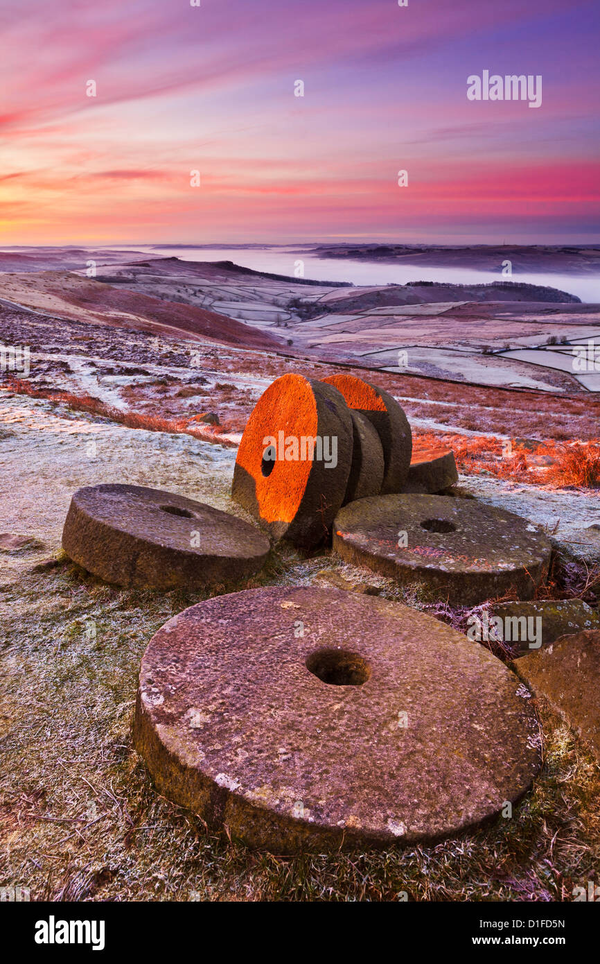 Stanage edge wheelstones and moorland on a frosty dawn morning near Hathersage Derbyshire Peak District National Stock Photo