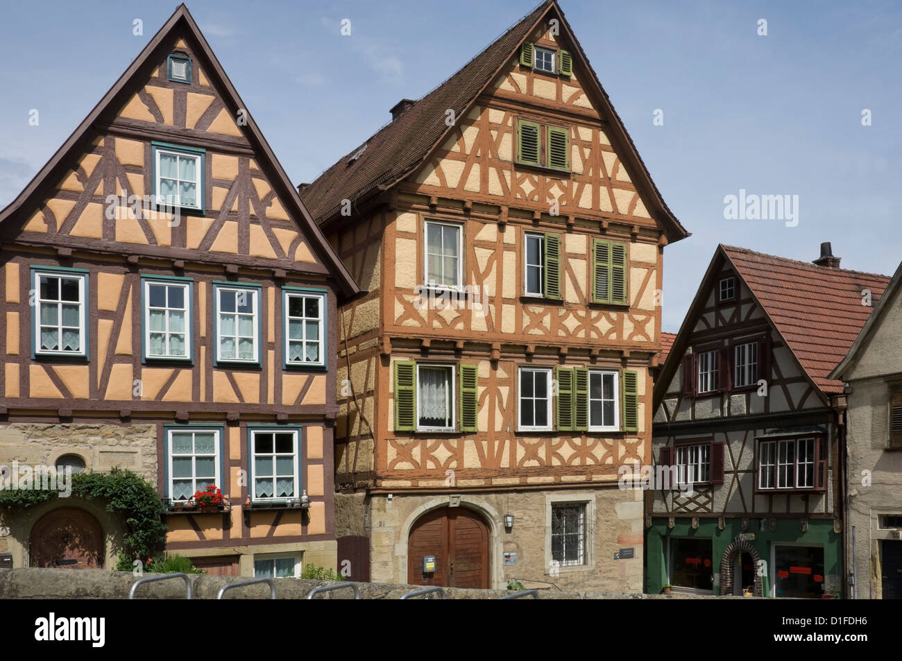 Medieval timbered and brick infill houses in Marbach am Neckar, Baden Wurttemberg, Germany, Europe - Stock Image