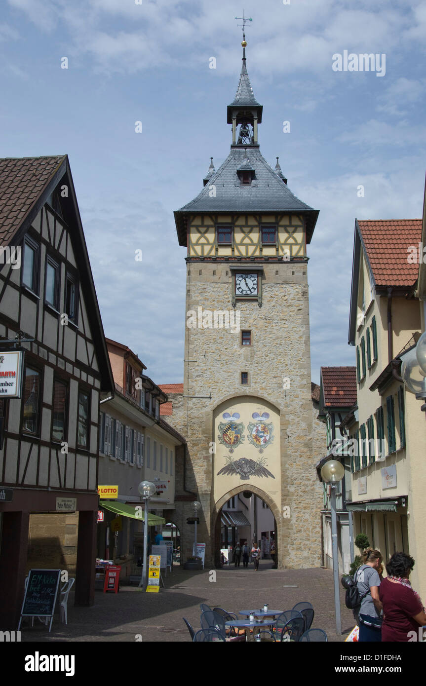 The Tower Gareway into the Altstadt, Marbach am Neckar, Baden Wurttemberg, Germany, Europe - Stock Image