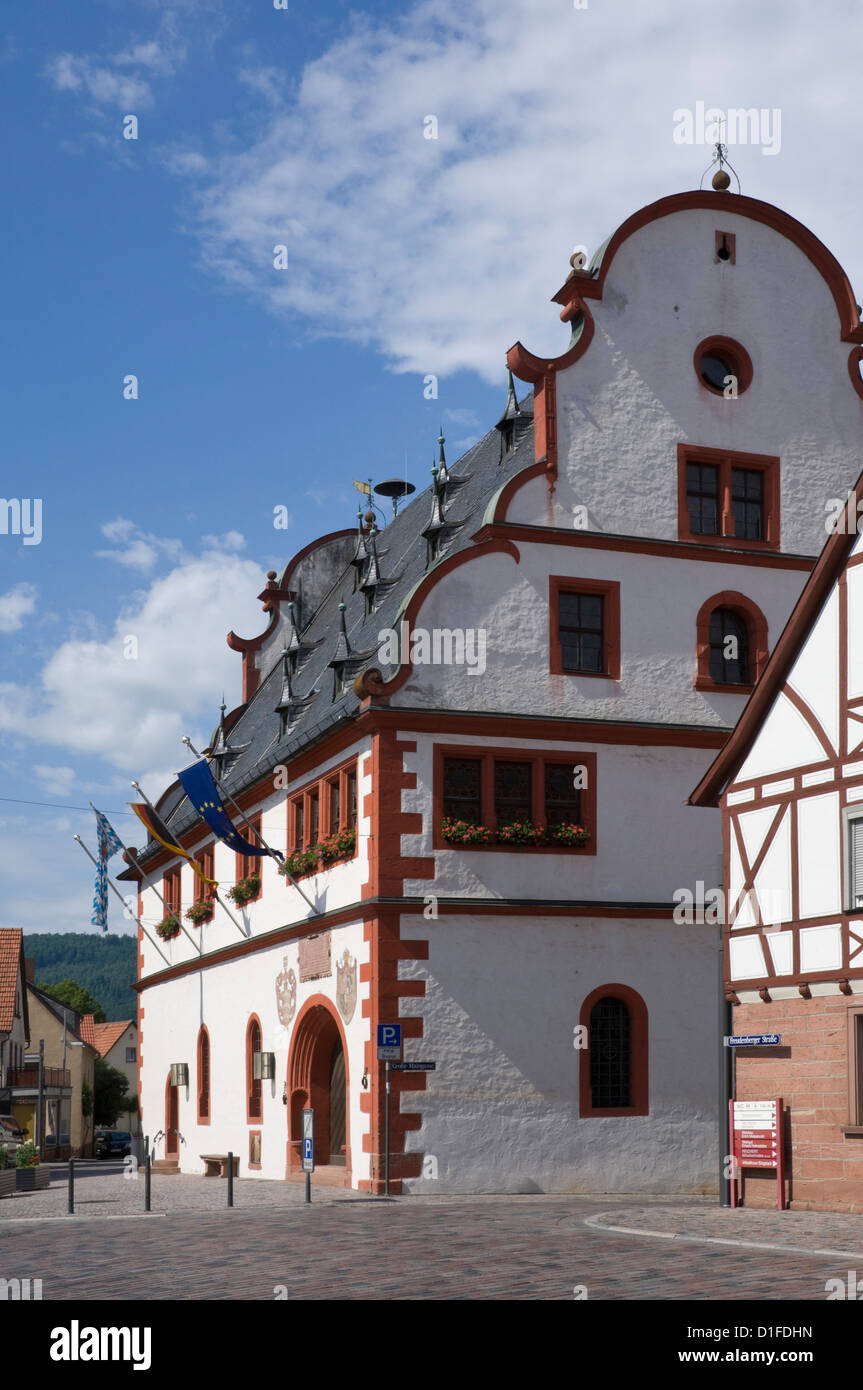 The historic 16th century Town Hall in Burgstadt, Michelstadt am Main, Bavaria, Germany, Europe - Stock Image