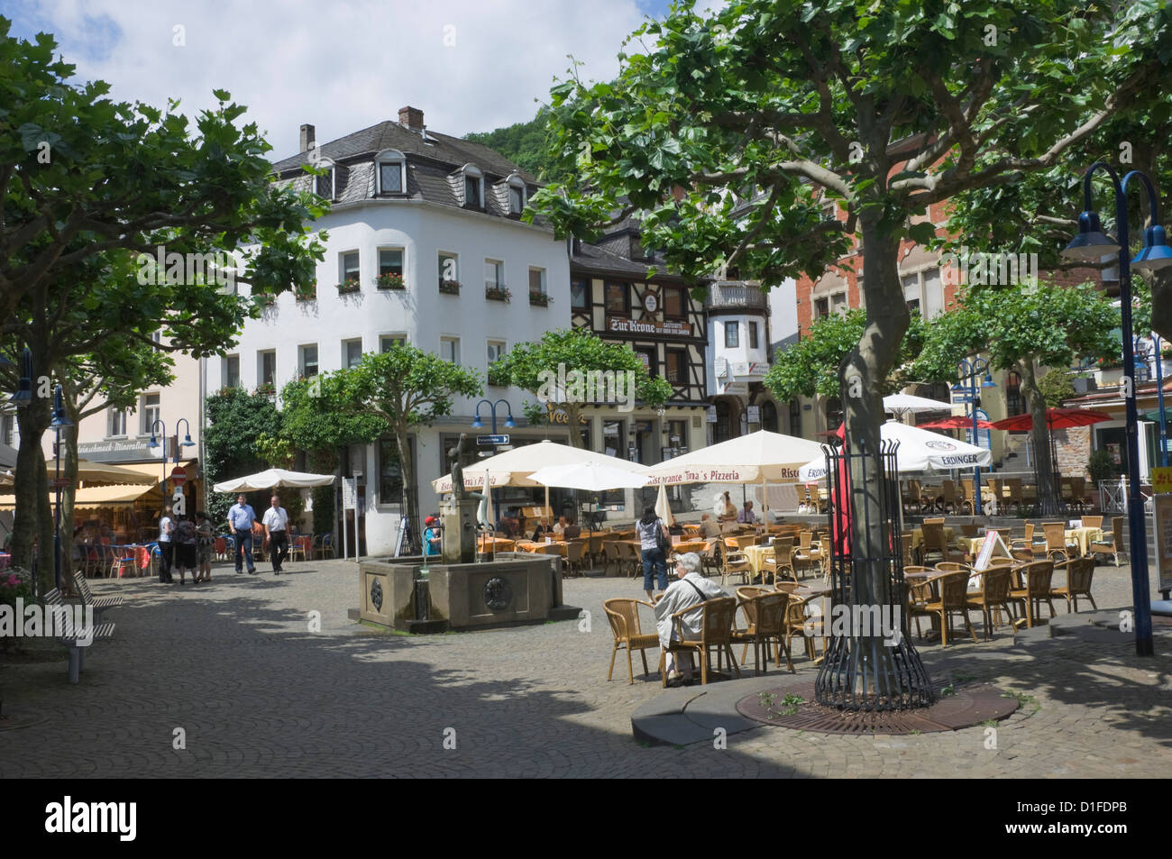 Market Square, Idar Oberstein, famous for gem stones, on the River Nahe, Rhineland Palatinate, Germany, Europe - Stock Image