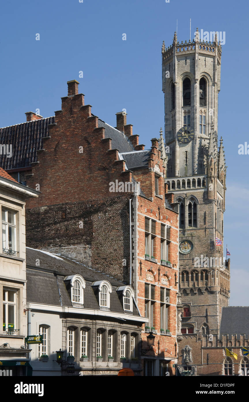 The Belfry by the Market Place, Brugge, UNESCO World Heritage Site, Belgium, Europe - Stock Image