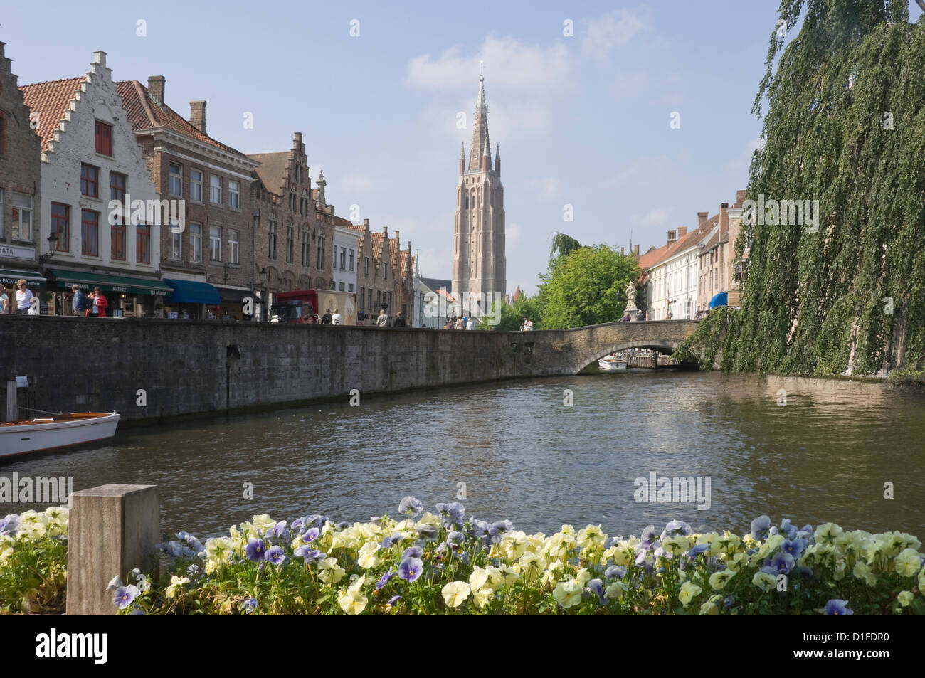 Canal view with the spire of the Church of our Lady, Brugge, Belgium, Europe - Stock Image