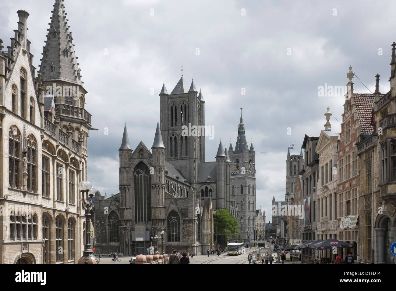 The Old Post Office on the left, St. Nickolas Church and the Belfry beyond, Ghent, Belgium, Europe Stock Photo
