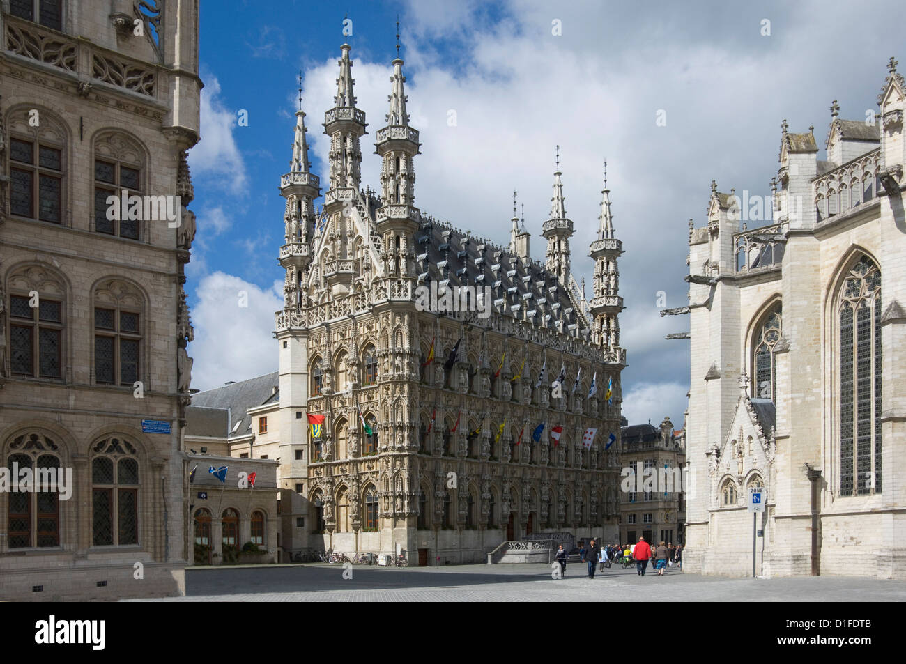 The 15th century late Gothic Town Hall in the Grote Markt, Leuven, Belgium, Europe Stock Photo