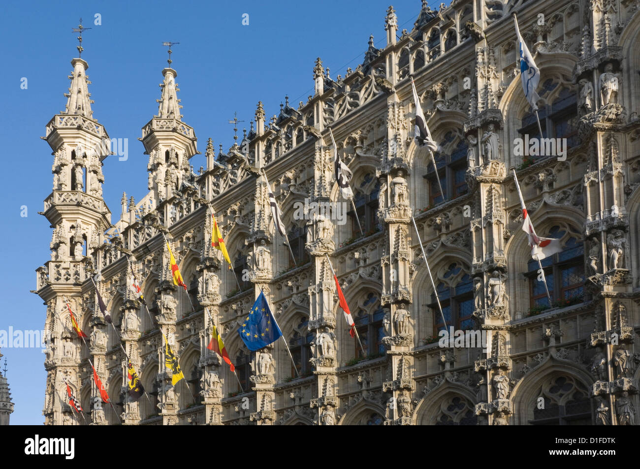 A detail of the stonework carving on the 15th century late Gothic Town Hall, Grote Markt, Leuven, Belgium, Europe Stock Photo