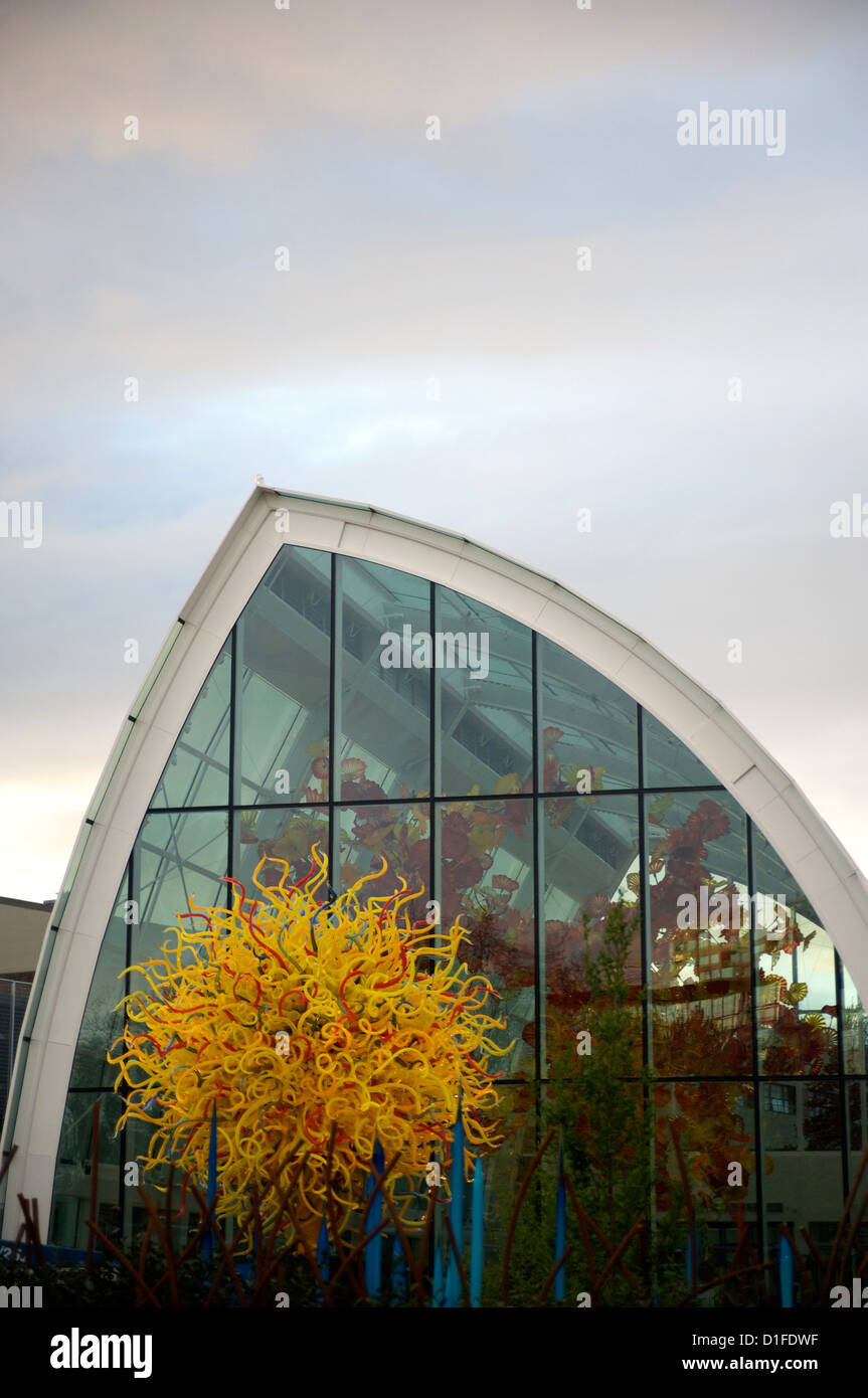 Exterior of the new Chihuly Glass Museum located below the Space Needle, Seattle, Washington State, United States Stock Photo