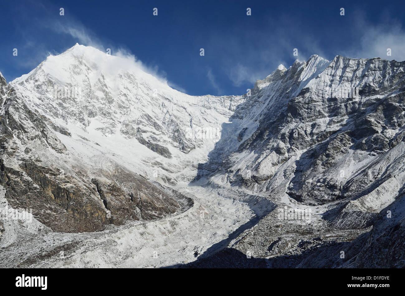 Langtang Lirung Glacier, Langtang National Park, Bagmati, Central Region (Madhyamanchal), Nepal, Himalayas, Asia - Stock Image