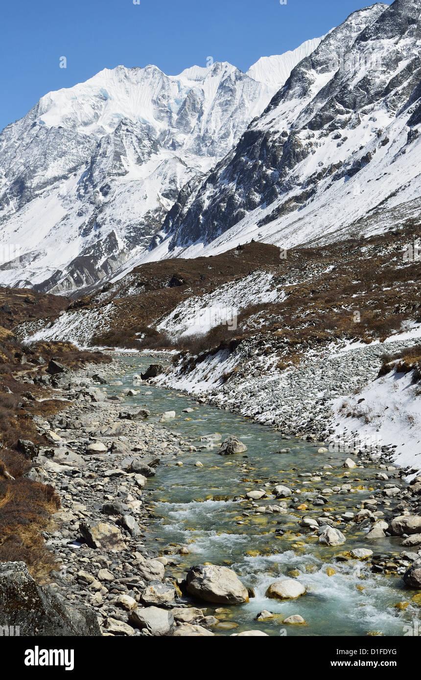 Langtang Valley and Langtang Khola, Langtang National Park, Bagmati, Central Region (Madhyamanchal), Nepal, Himalayas, - Stock Image