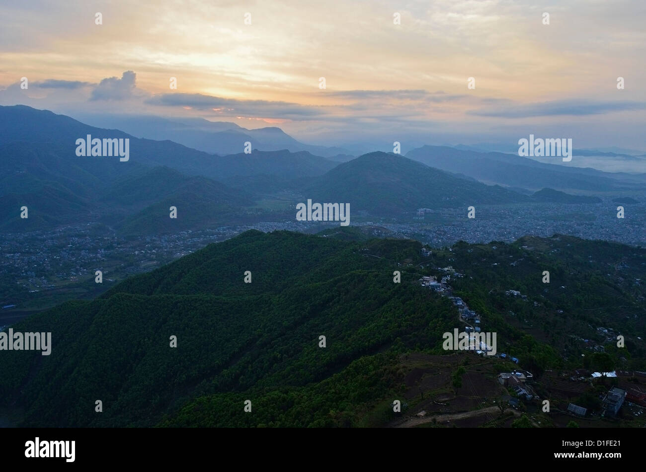 View of Pokhara from Sarangkot, Gandaki Zone, Western Region, Nepal, Asia - Stock Image