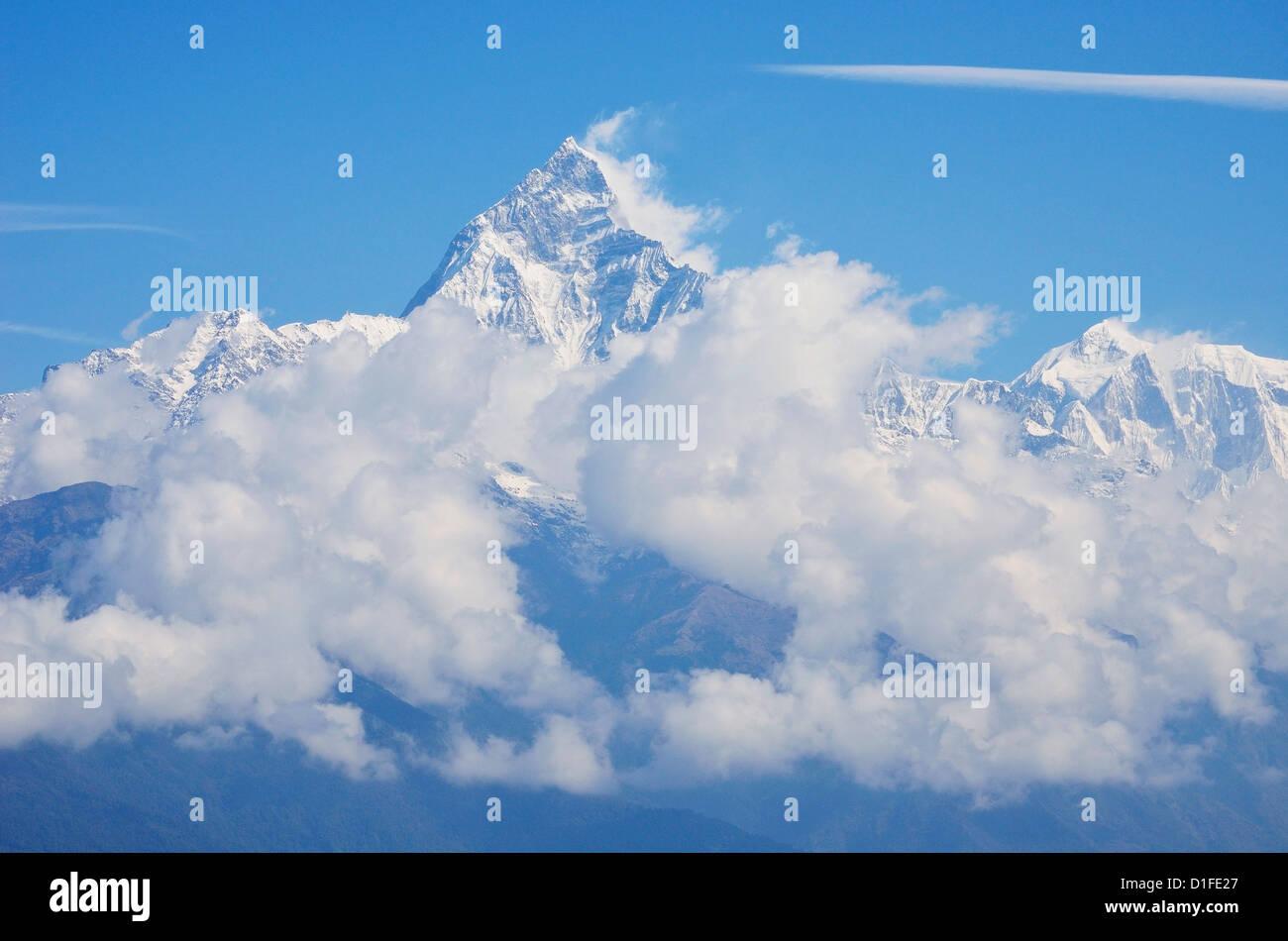 Machapuchare seen from Sarangkot, Gandaki Zone, Western Region, Nepal, Himalayas, Asia - Stock Image