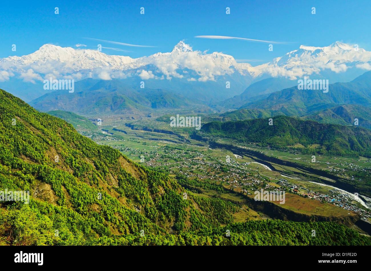 Annapurna Himal and Machapuchare seen from Sarangkot, Gandaki Zone, Western Region, Nepal, Himalayas, Asia - Stock Image