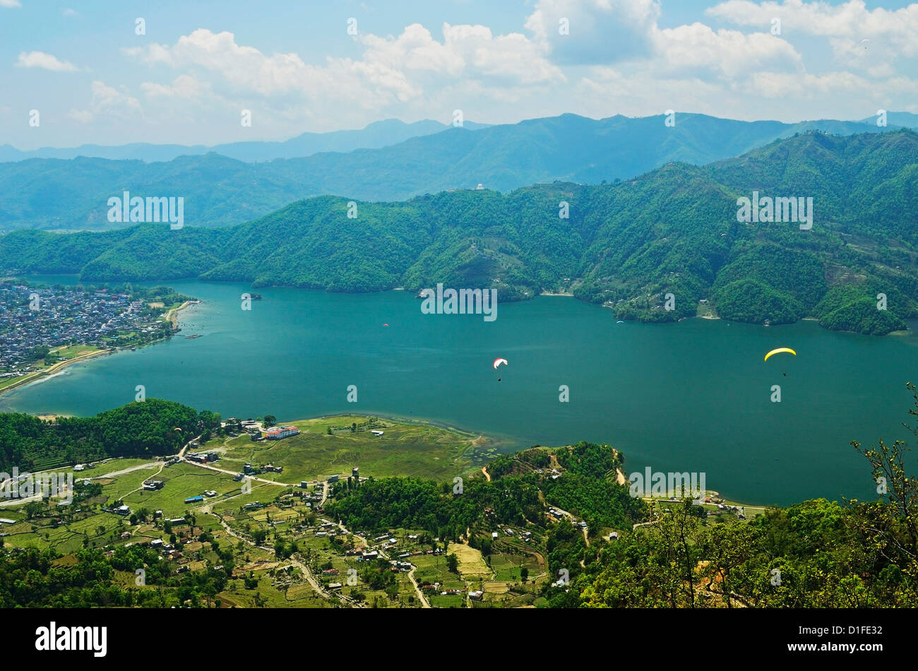 Phewa Tal, View from Sarangkot, Gandaki Zone, Western Region, Nepal, Asia - Stock Image