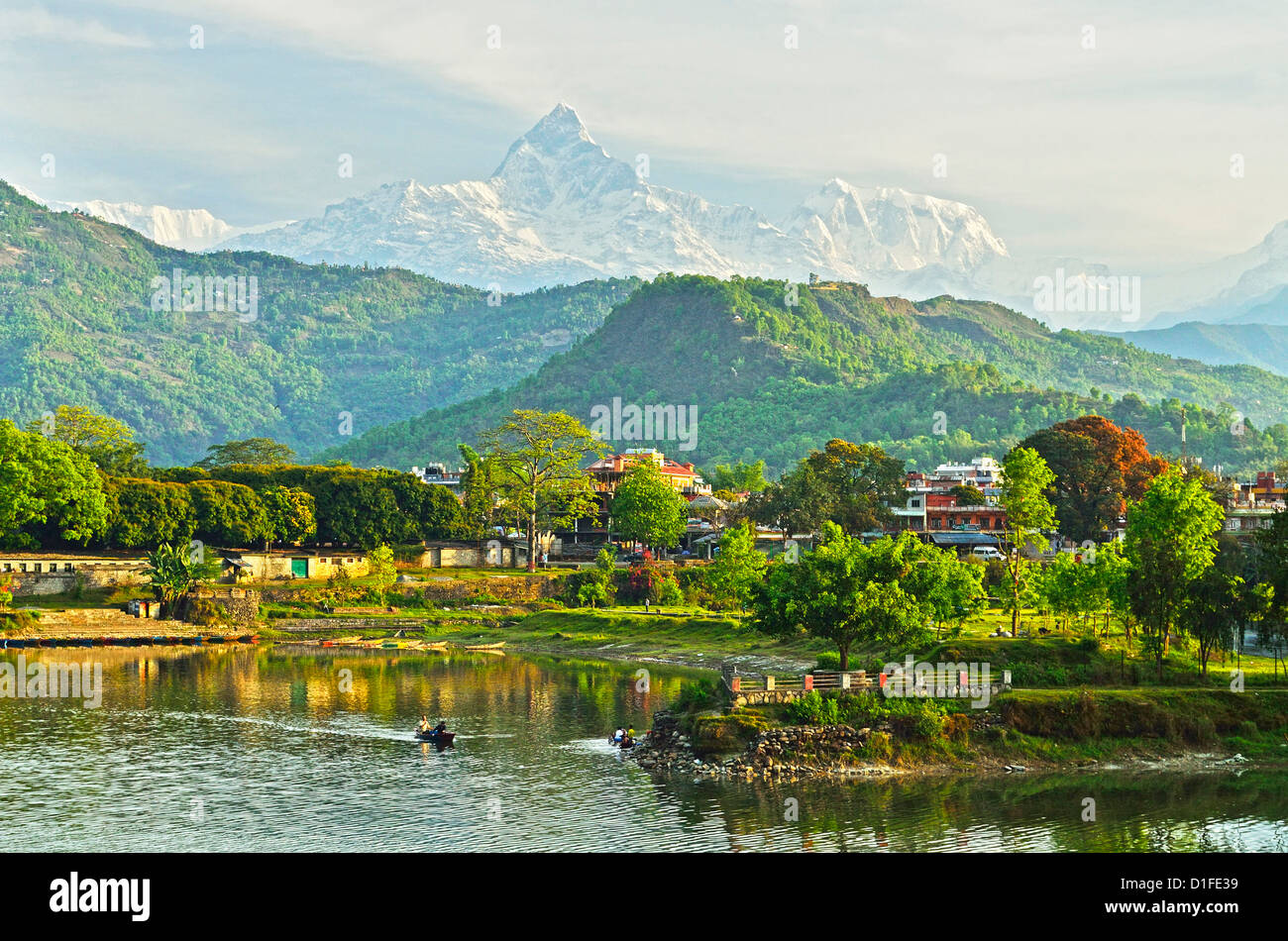Annapurna Himal, Machapuchare and Phewa Tal seen from Pokhara, Gandaki Zone, Western Region, Nepal, Himalayas, Asia - Stock Image