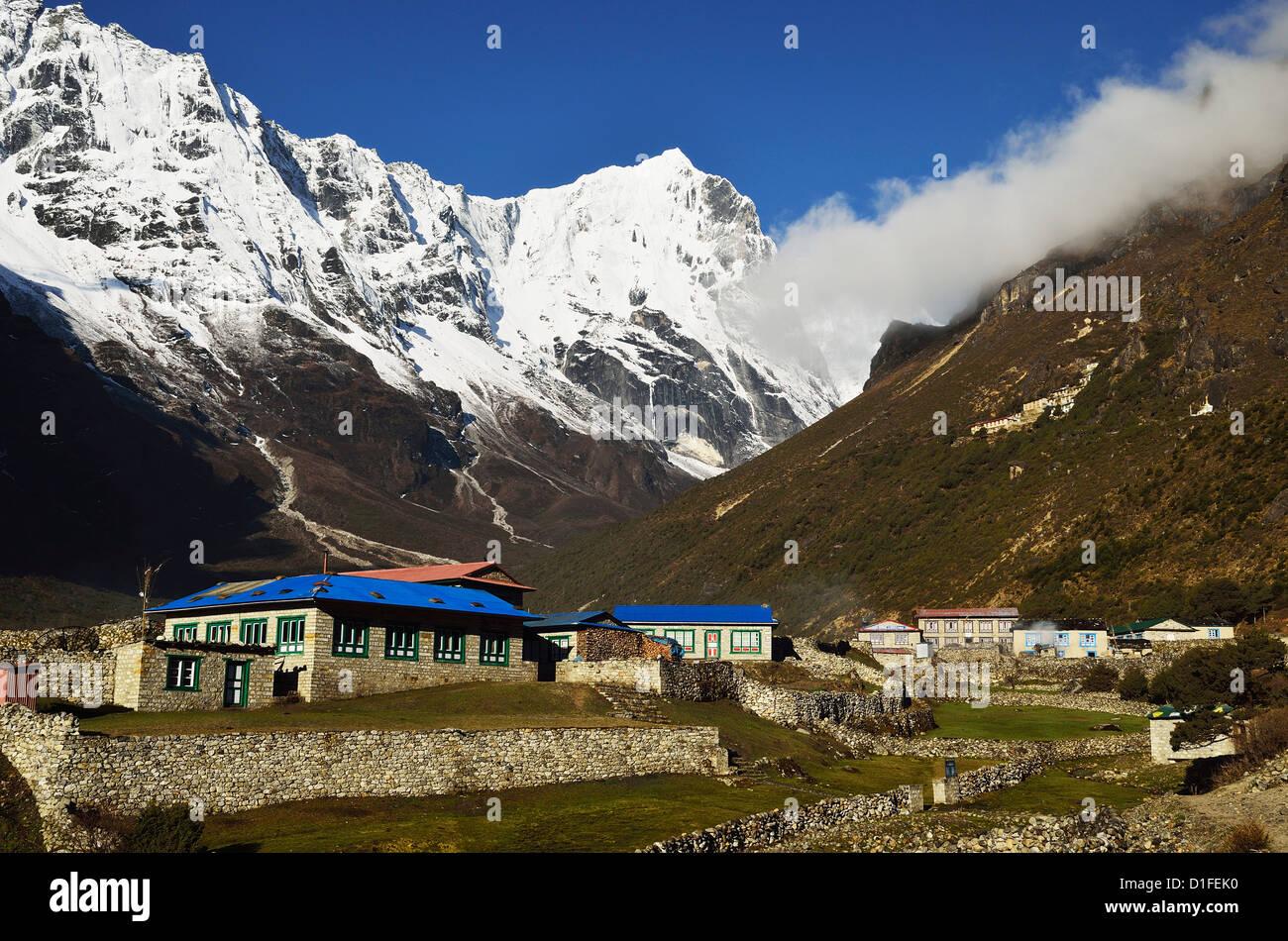 Thame village, Sagarmatha National Park, Solukhumbu District, Sagarmatha, Eastern Region (Purwanchal), Nepal, Himalayas, - Stock Image