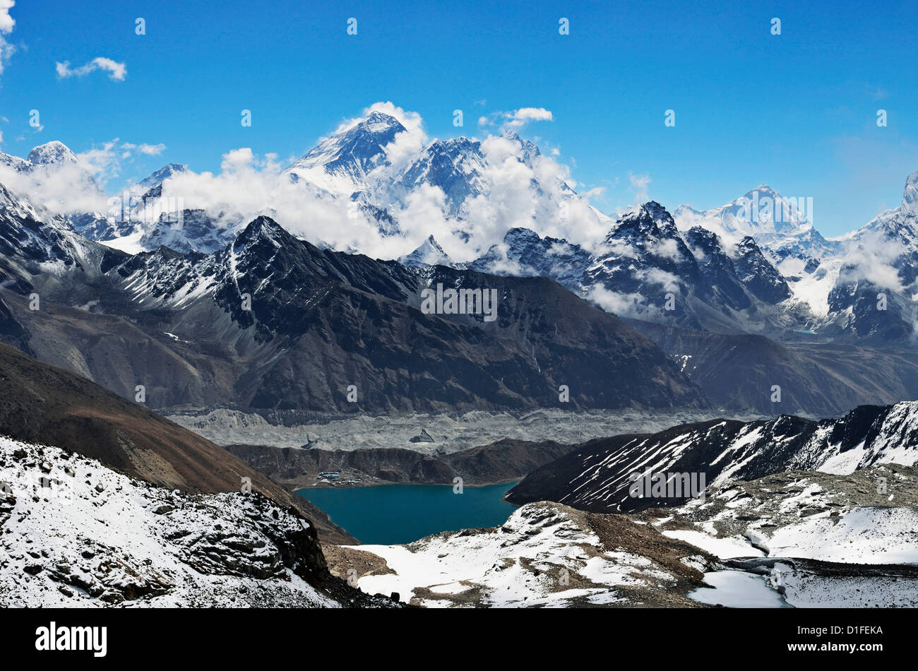 View from Renjo Pass of Mount Everest, Everest Himalayan Range and Gokyo Lake, Sagarmatha National Park, Purwanchal, - Stock Image