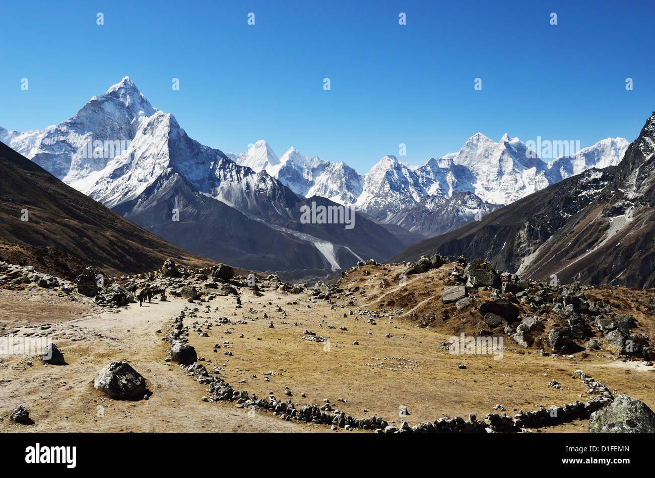 Ama Dablam seen from Thokla, Sagarmatha National Park, Solukhumbu District, Sagarmatha, Eastern Region (Purwanchal), - Stock Image