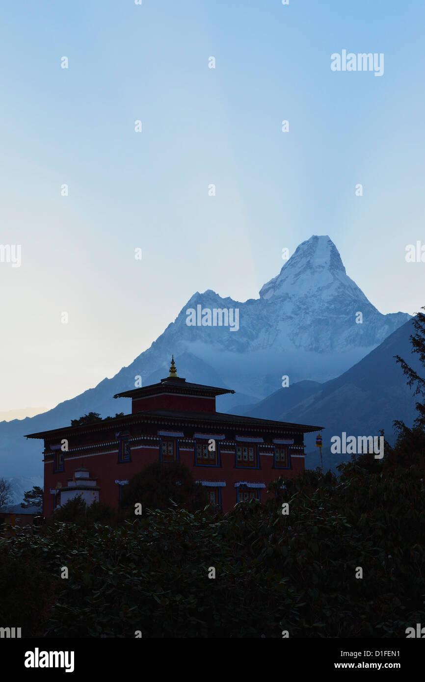 Dingboche Monastery and Ama Dablam, Sagarmatha National Park, Sagarmatha, Eastern Region (Purwanchal), Nepal - Stock Image