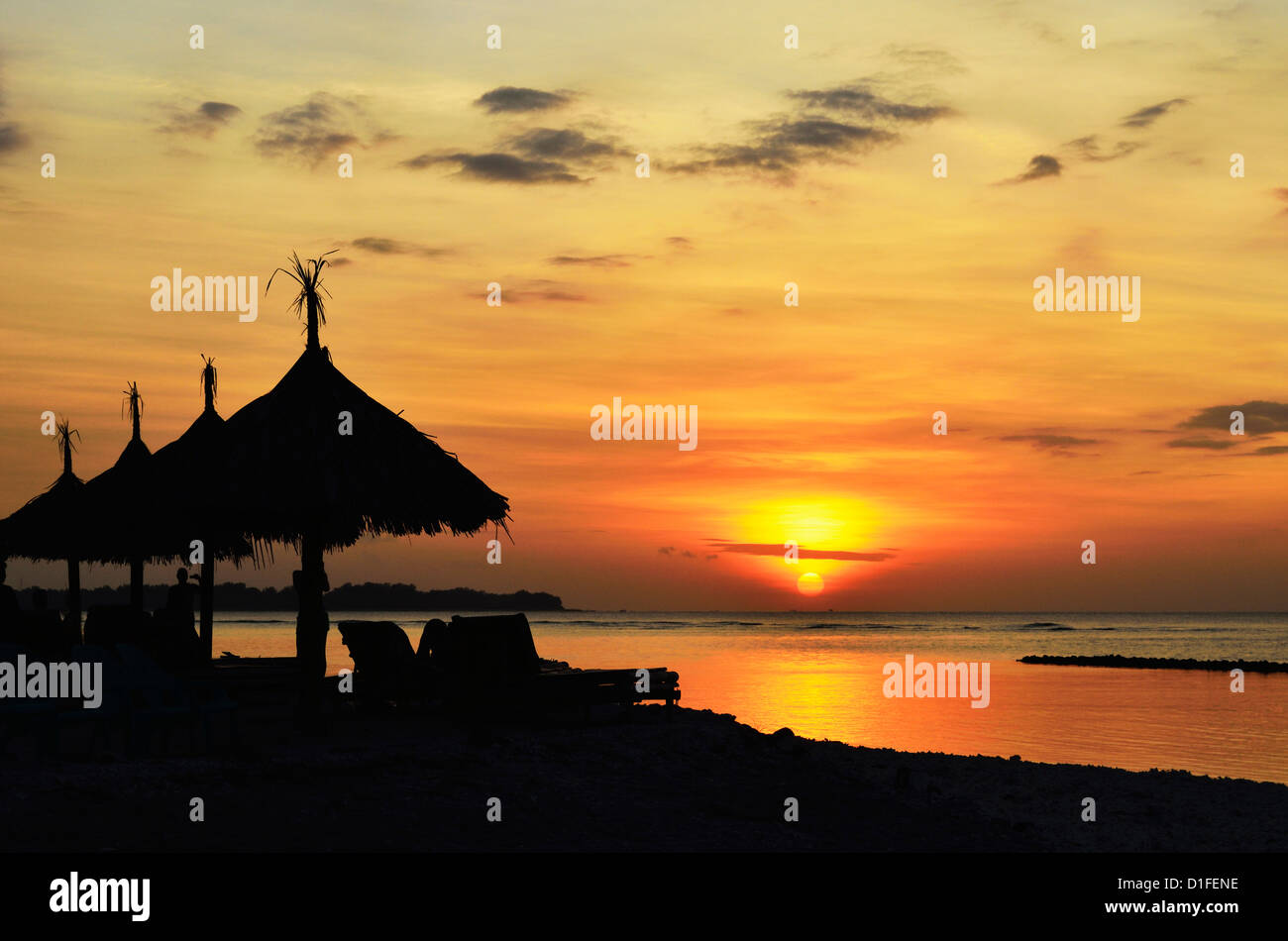 Sunset, Gili Air, Lombok, Indonesia, Southeast Asia, Asia - Stock Image