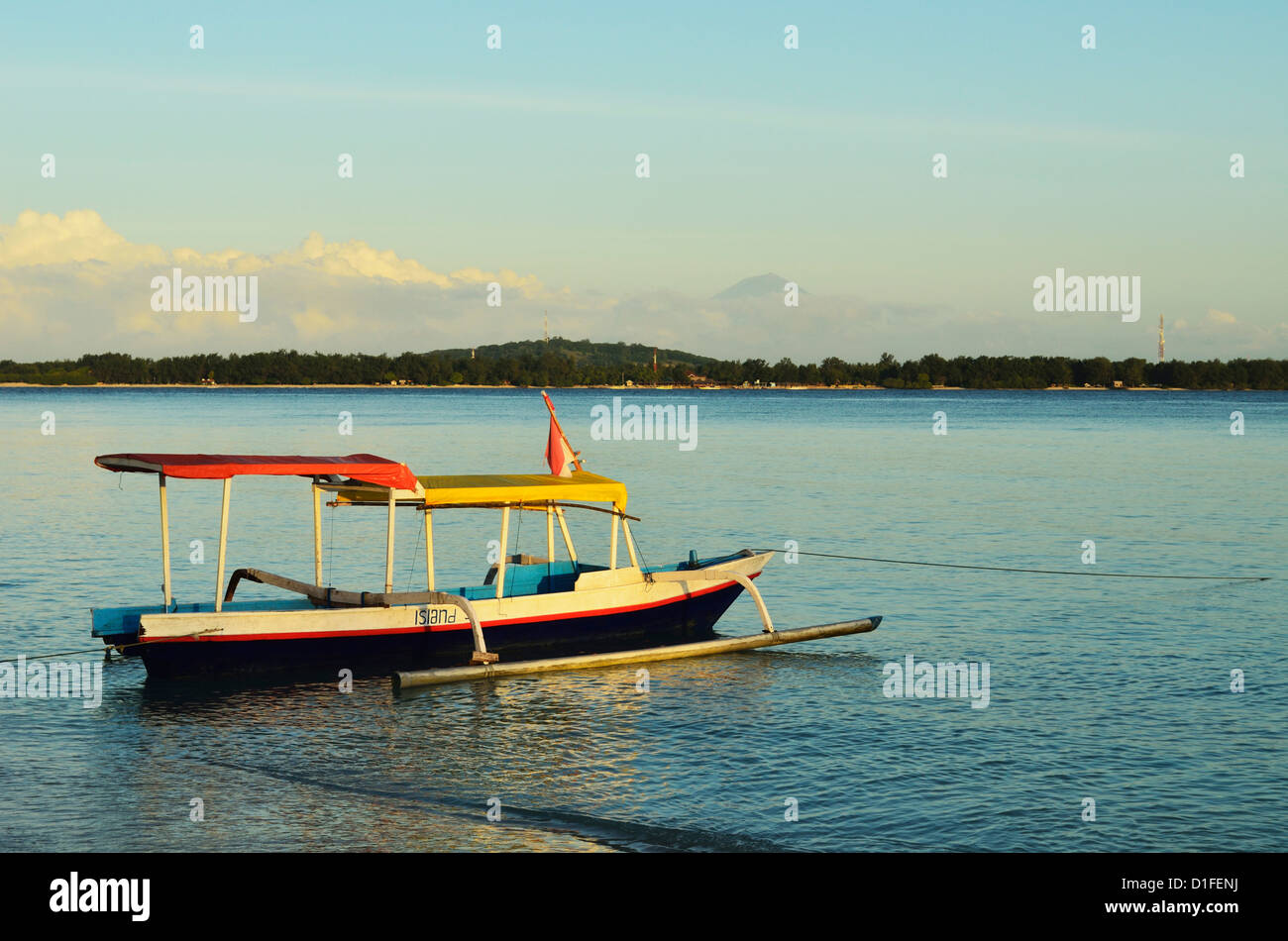 View of Gili Meno from Gili Air, Lombok, Indonesia, Southeast Asia, Asia - Stock Image