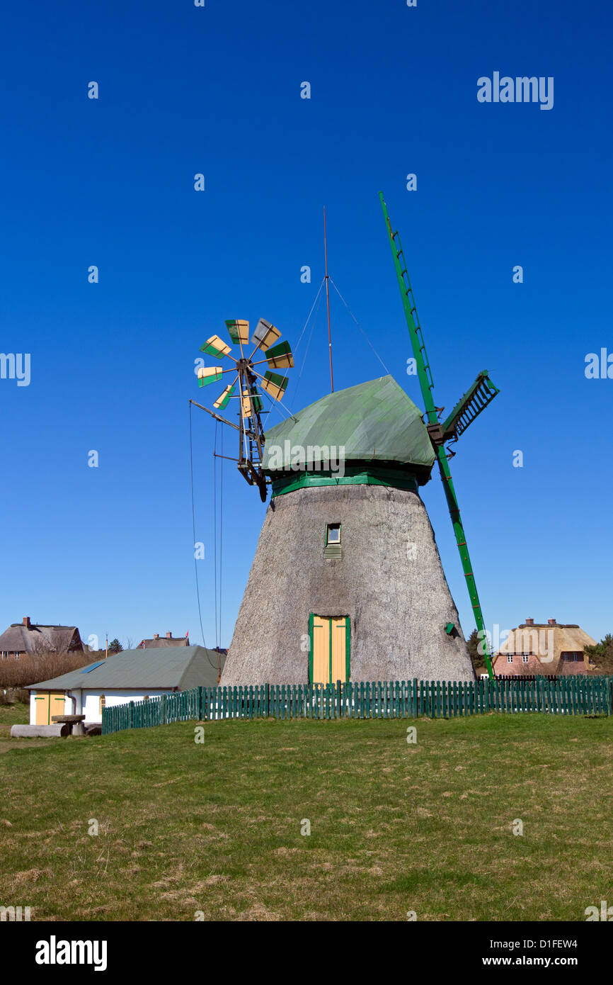 Traditional windmill at Nebel, Amrum island, North Frisia, Germany - Stock Image