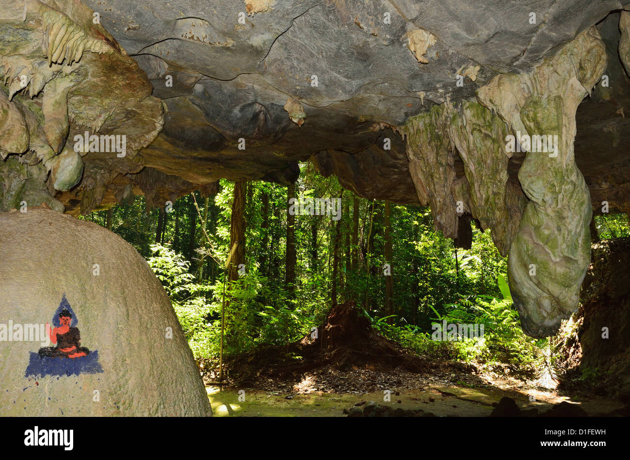 View from cave to rainforest, Tiger Cave Temple (Wat Tham Suea), Krabi Province, Thailand, Southeast Asia, Asia - Stock Image