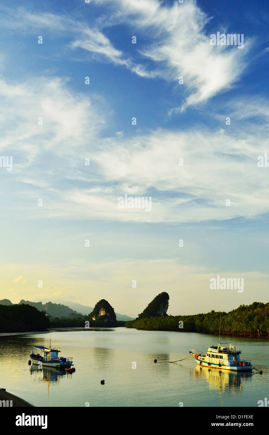 Krabi River and Kanab Nam Twin Peaks in the distance, Krabi Town, Krabi Province, Thailand, Southeast Asia, Asia - Stock Image