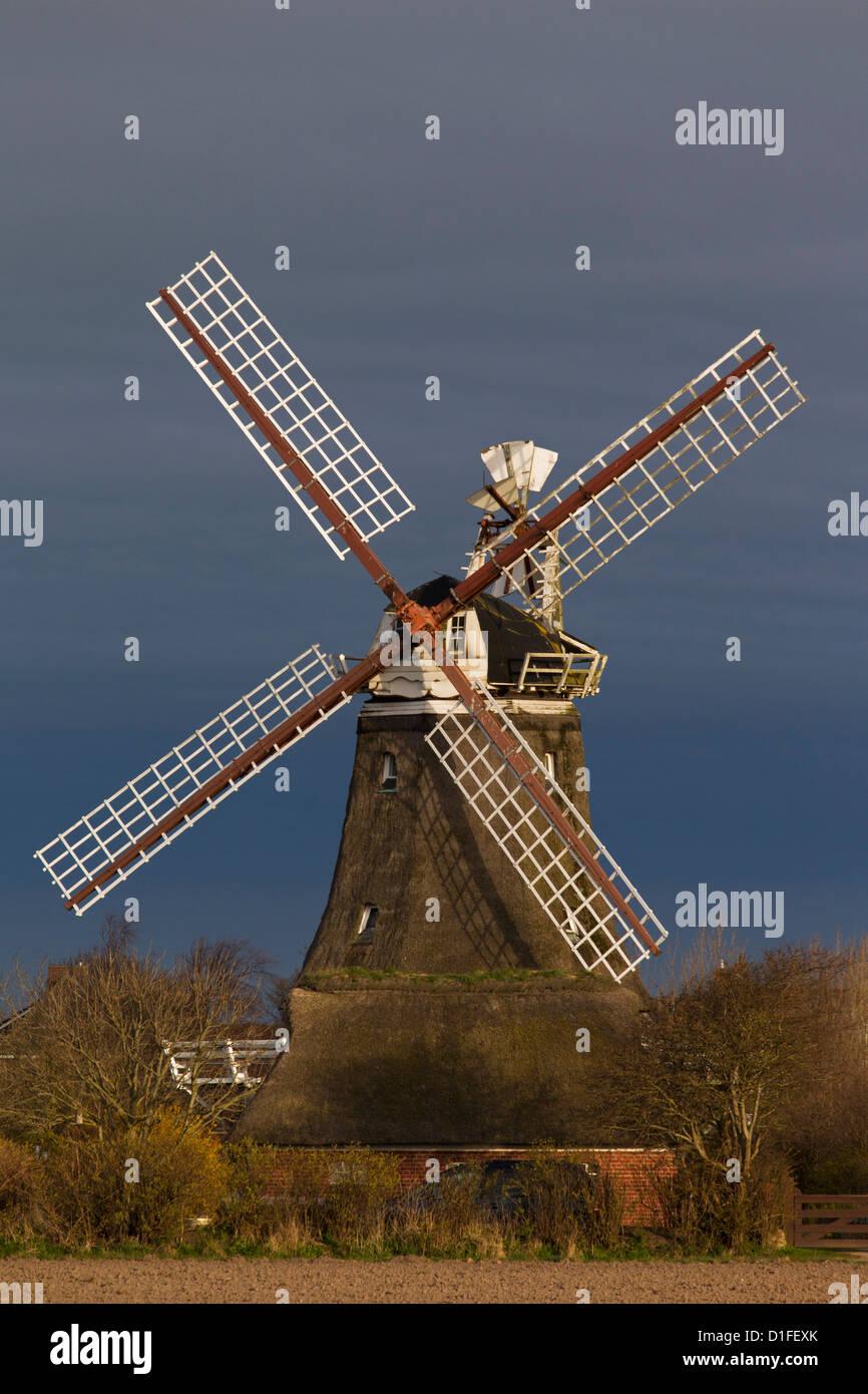 Traditional windmill at Oldsum, Föhr, North Frisia, Schleswig-Holstein, Germany Stock Photo