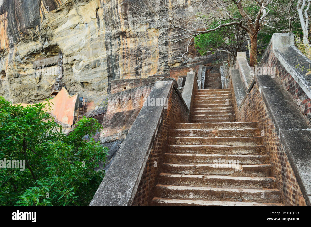 Stairs leading to top of Sigiriya (Lion Rock), UNESCO World Heritage Site, Sri Lanka, Asia Stock Photo