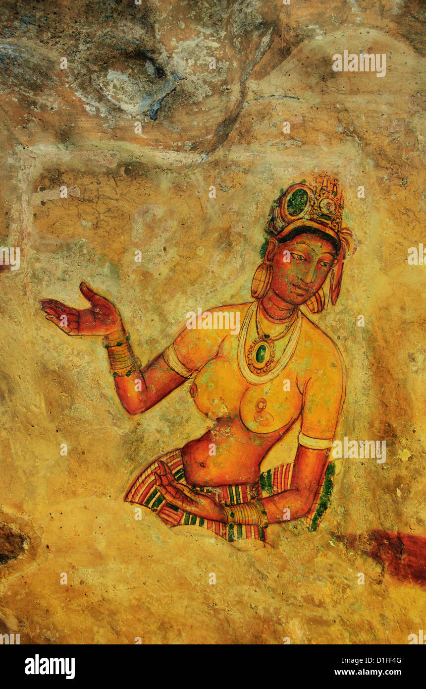 Frescoes, Sigiriya (Lion Rock), UNESCO World Heritage Site, Sri Lanka, Asia - Stock Image