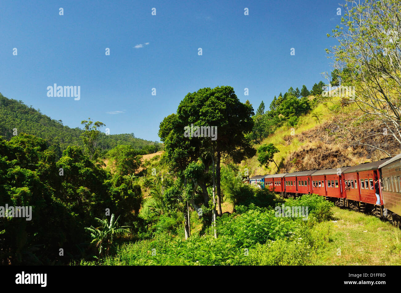 View from train, Central Highlands, Sri Lanka, Asia - Stock Image