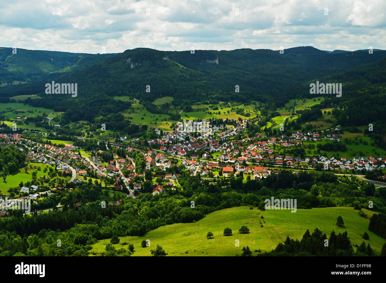 View of Laufen an der Eyach, Swabian Alb (Swabian Alps), Baden-Wurttemberg, Germany, Europe - Stock Image