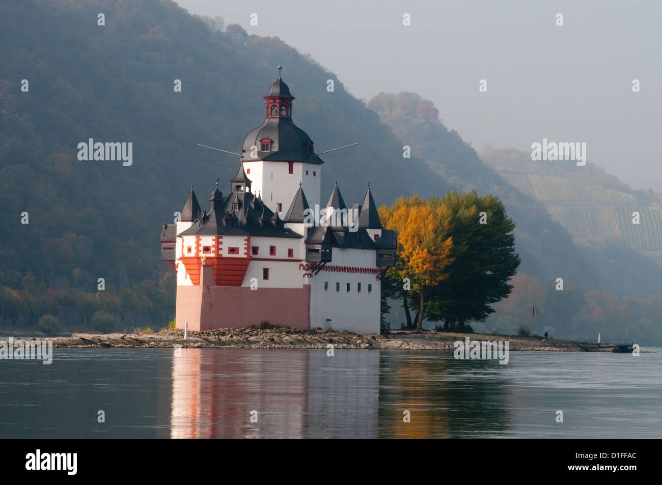 Pfalzgrafenstein toll castle on island in Rhine river, Kaub Stock Photo