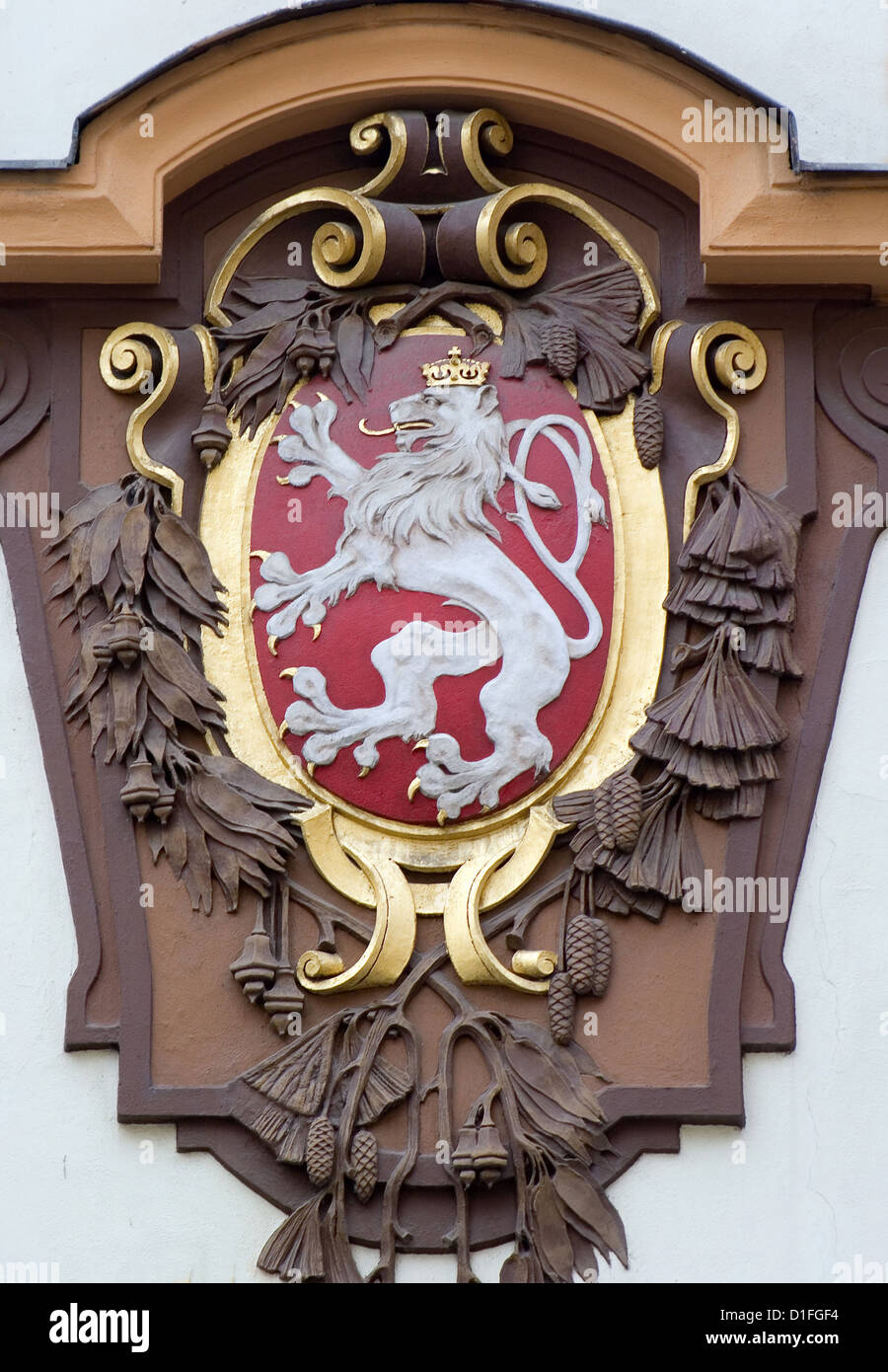 Prague - Czech national heraldry from house facade - Stock Image