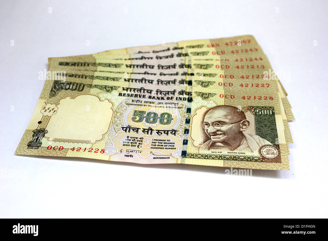 Indian currency A set of five hundred rupee notes in white background 500 - Stock Image