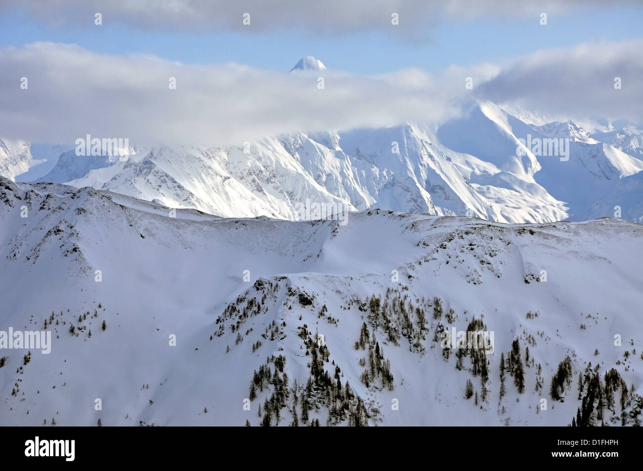 Ski resort and the mountains of Zell am See, Austrian Alps at winter Stock Photo