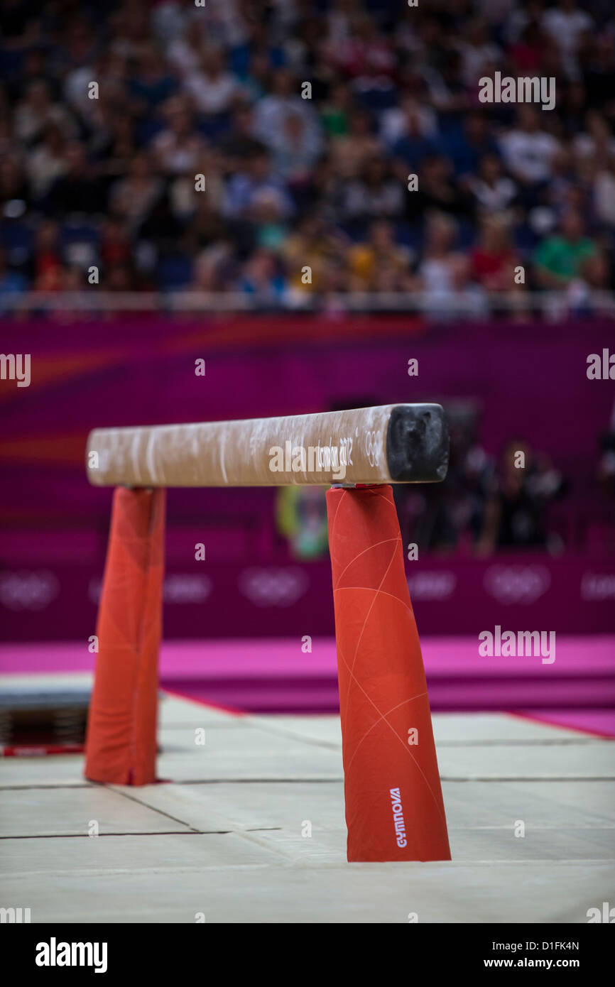 Balance Beam at the Olympic Summer Games, London 2012 - Stock Image