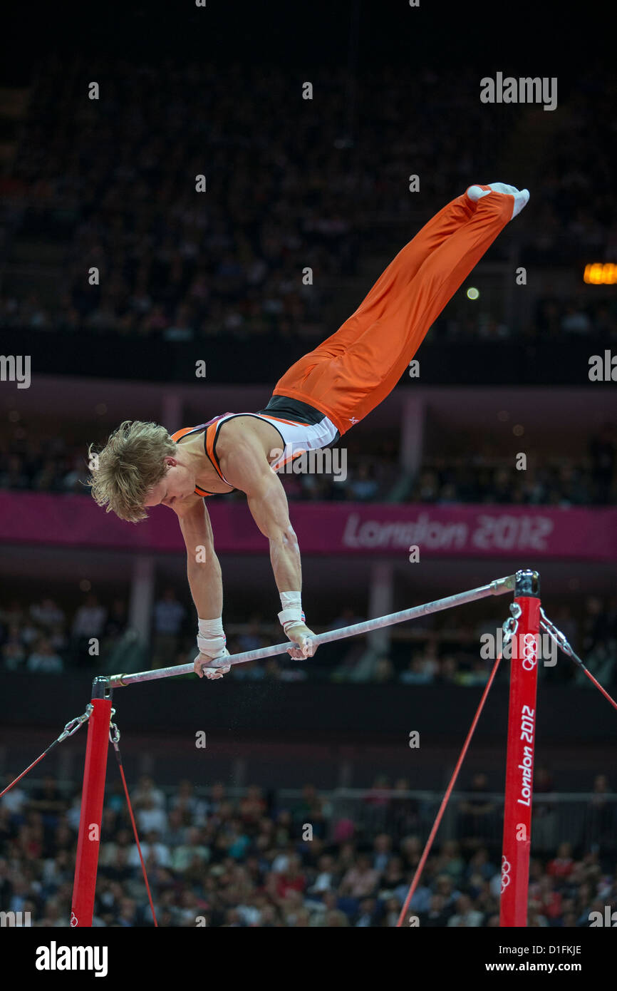 Epke Zonderland (NED) competing during the Men's Horizontal Bar Final where he won the gold medal at the 2012 - Stock Image
