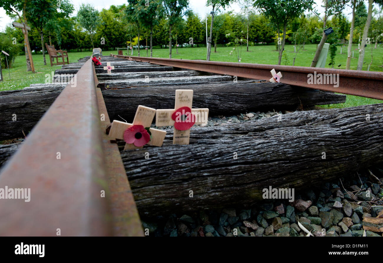 The memorial is constructed from 30 metres of the original rails and sleepers used on the Burma Railway - Stock Image