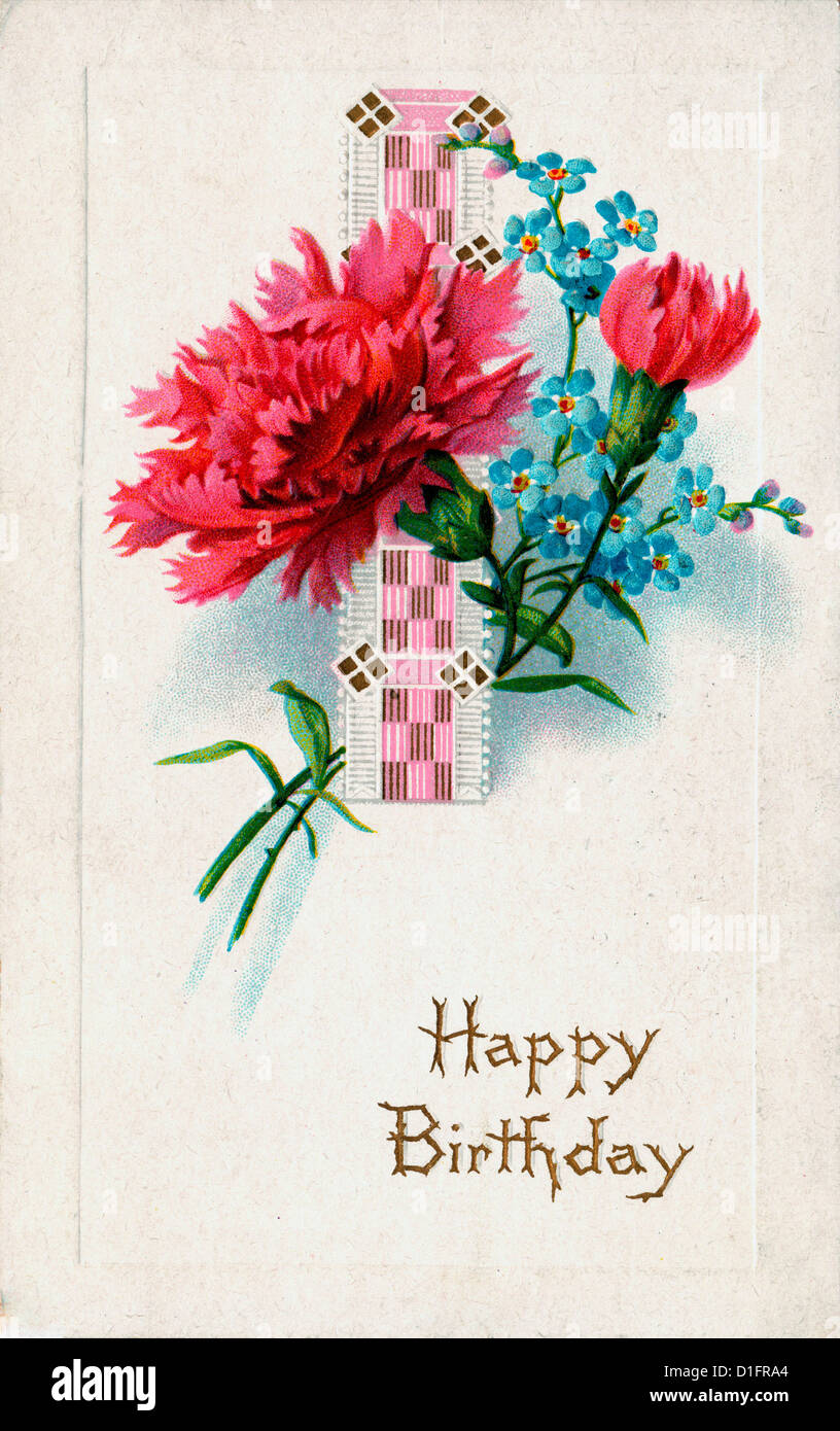 Happy birthday with flowers stock photo 52593356 alamy happy birthday with flowers izmirmasajfo