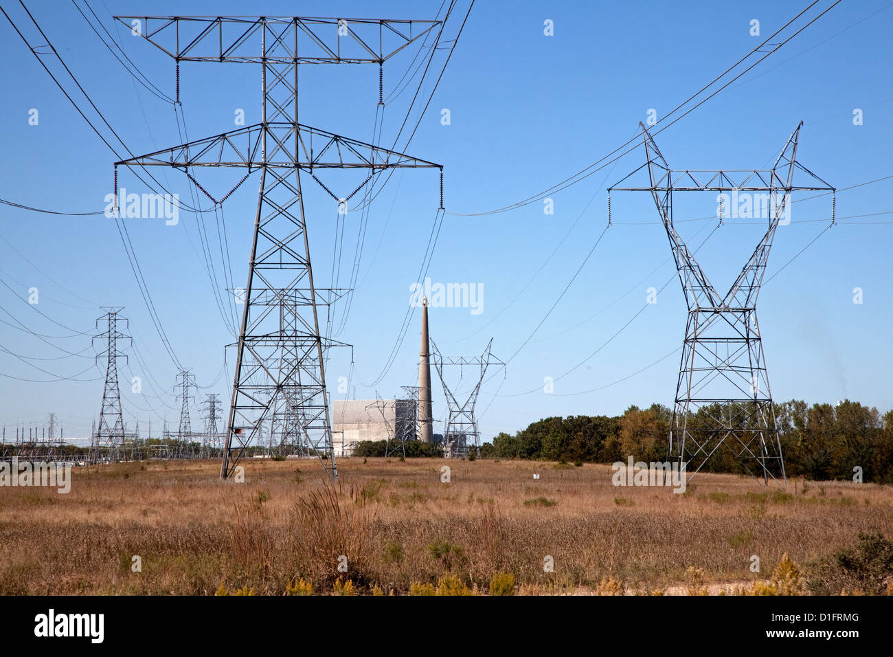 High voltage power lines transmitting electricity from the Monticello Nuclear Generating Plant. Monticello Minnesota - Stock Image