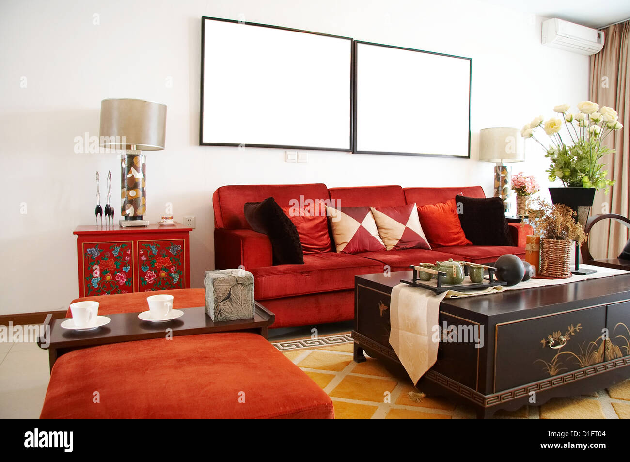 Living Room With Red Sofa,Chinese Style Stock Photo ...
