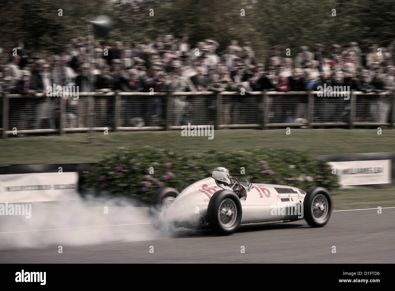 Mercedes Benz W165 Silver Arrow GP car at Goodwood Revival. Paul Stewart driving - Stock Image