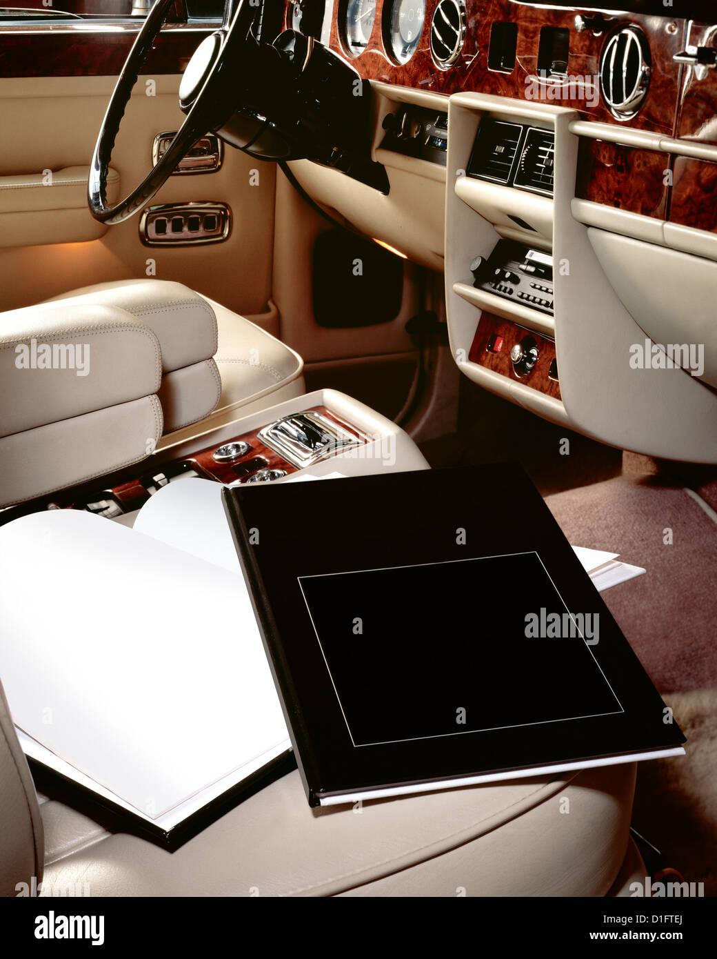 Luxury Car Interior With Books On Seat Stock Photo Alamy