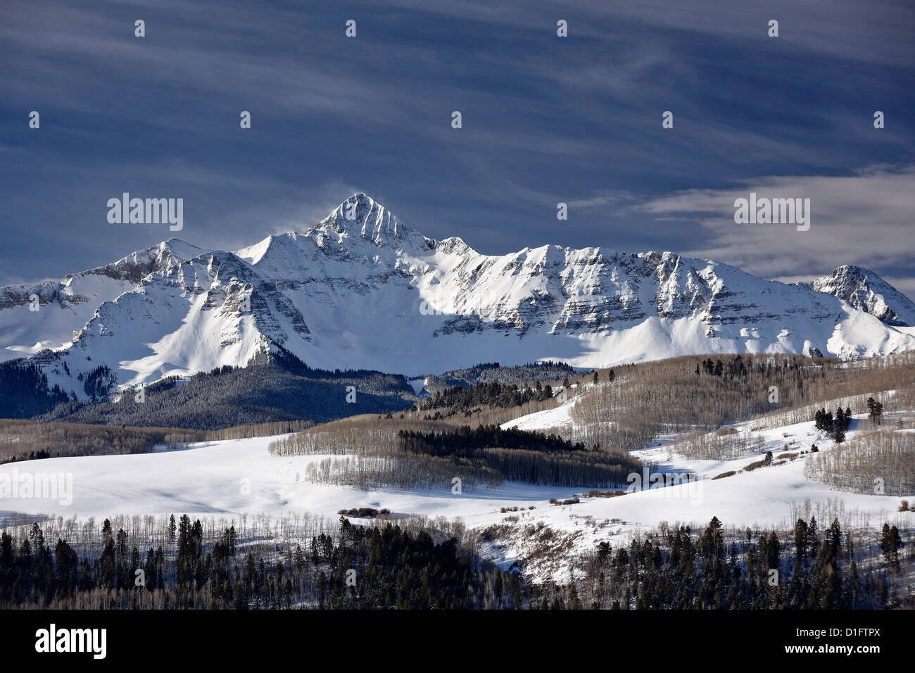 Mount Wilson in the winter, Uncompahgre National Forest, Colorado, United States of America, North America Stock Photo