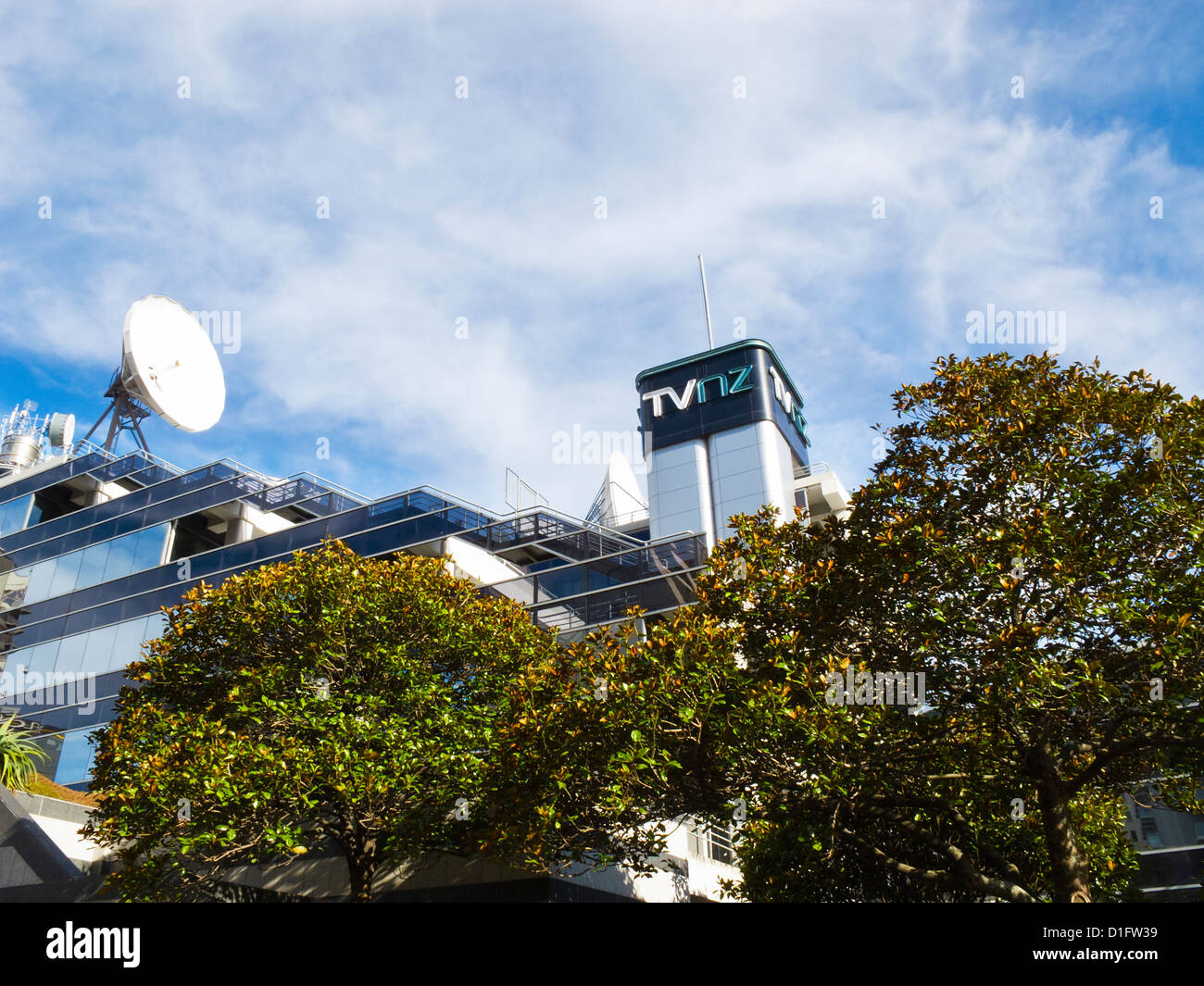 A view of the TVNZ building. TV NZ national television studios and offices, Auckland city, North Island, New Zealand. Stock Photo