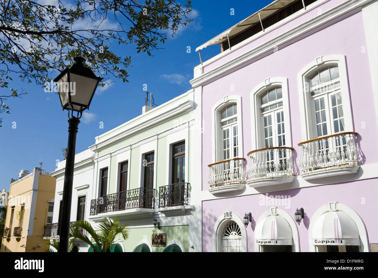Balconies on Calle O' Donnell, Old City of San Juan, Puerto Rico Island, West Indies, Caribbean, United States - Stock Image