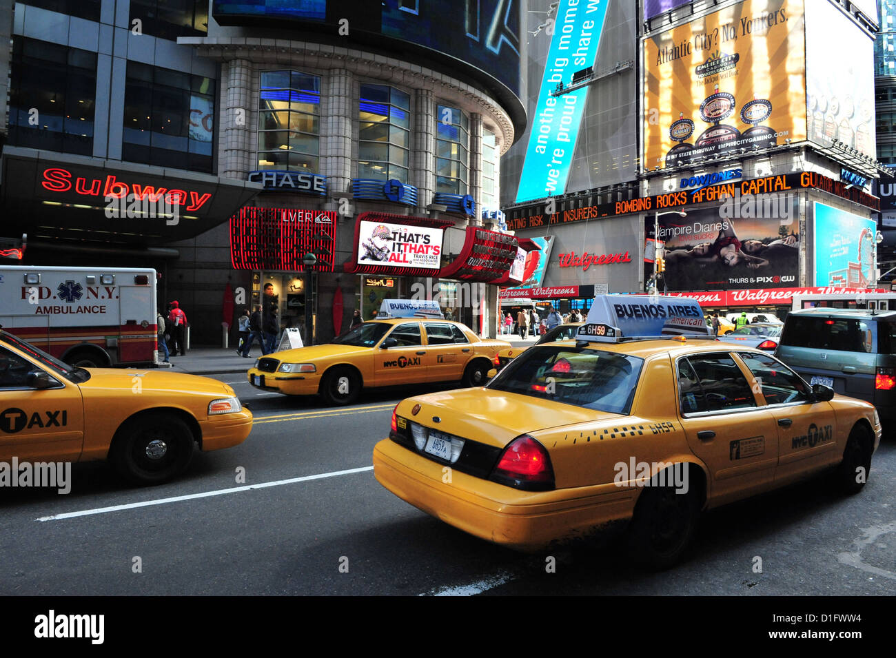 Yellow Taxicab during traffic on Time Square Manhttan New York - Stock Image
