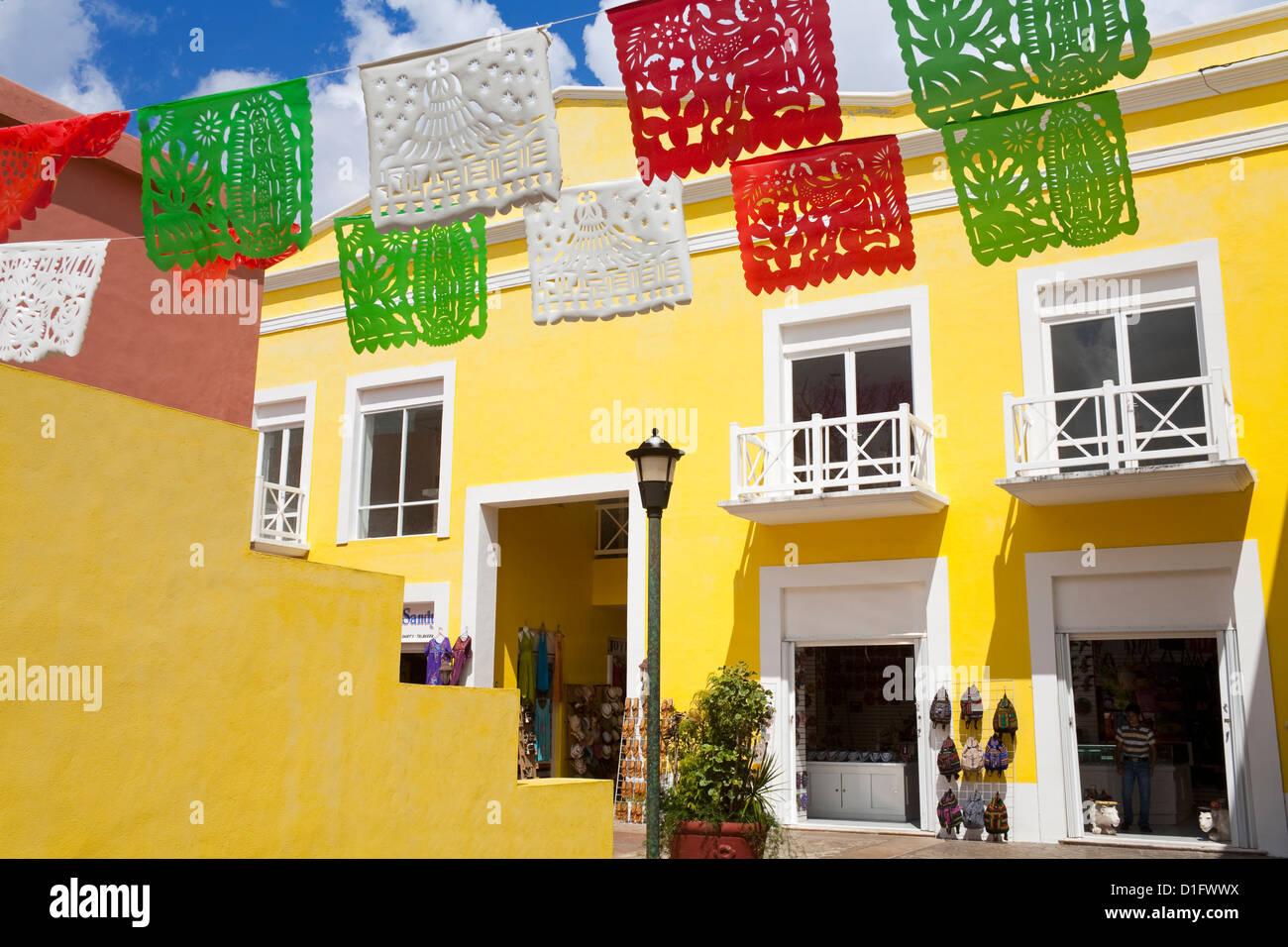 Mercado De Artesanias in Plaza del Sol, San Miguel City, Cozumel Island, Quintana Roo, Mexico, North America - Stock Image
