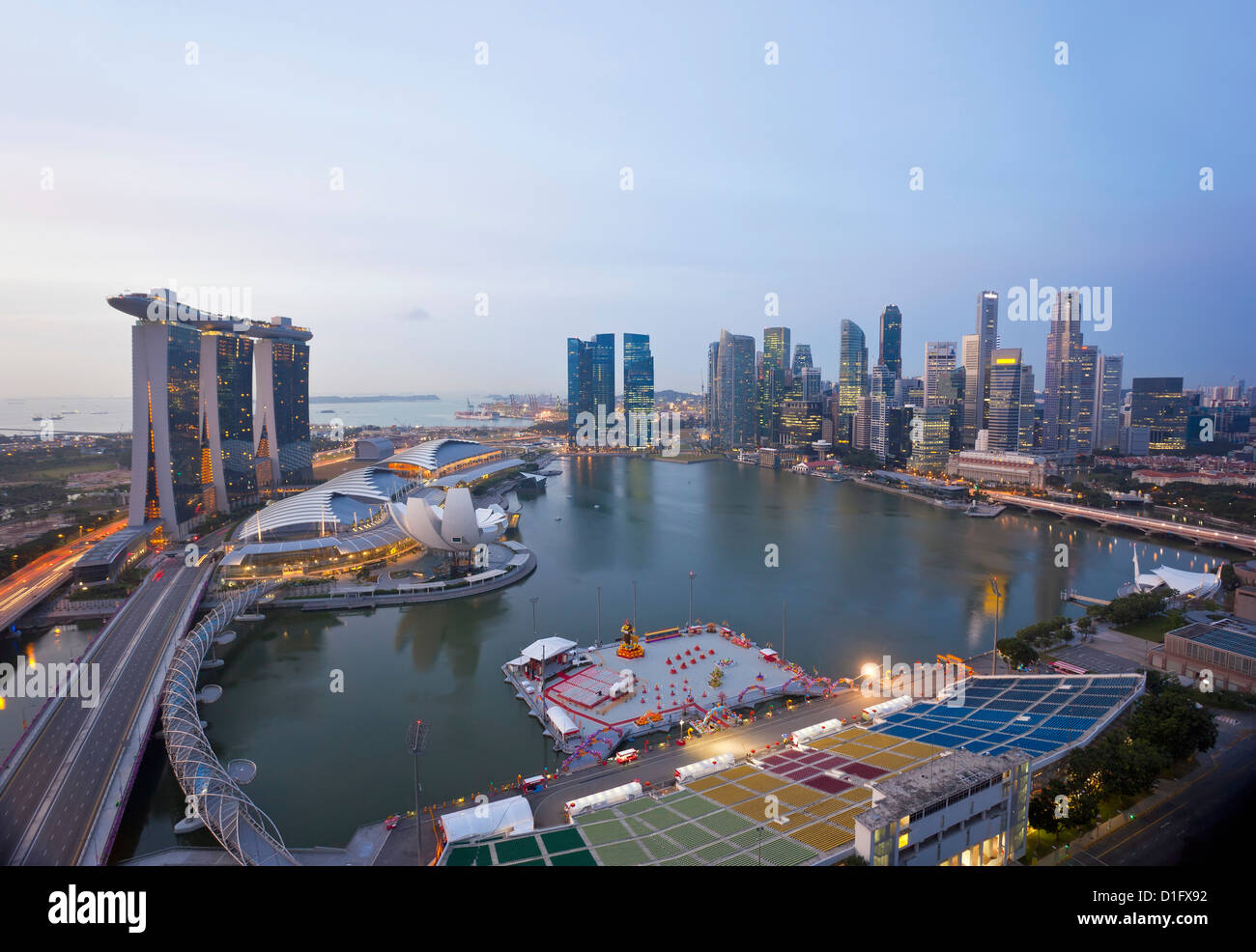 The Helix Bridge and Marina Bay Sands, elevated view over  Singapore, Marina Bay, Singapore, Southeast Asia, Asia - Stock Image
